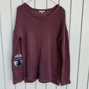 Anama Boho Patched Maroon Sweater